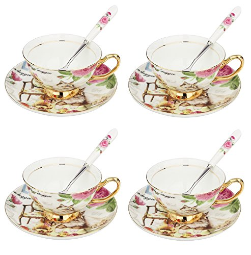 ARTVIGOR Drinkware Coffee and Tea China Cup and Saucer Set with Spoon Dog and Cat Printed New Bone, 37x10.5x35.5cm, Cafe Mocha Set of 4, Multicolor