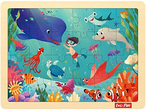 LOL-FUN 24 Piece Puzzles for Kids Ages 3-5 Wooden Jigsaw Puzzle for Toddlers 2-4 Year Old - Underwater World