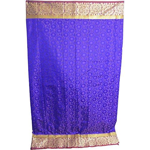 (Indian Pure Silk Royal Blue and Purple Paisley Sari Saree Fabric w/ Gold Border)