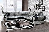 Perla Corner Sofa 2C2 Crushed Velvet Fabric Formal Back - Black and Silver