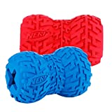 Nerf Dog (2-Pack) Tire Treat Feeder Dog Toy, Red/Blue, Large