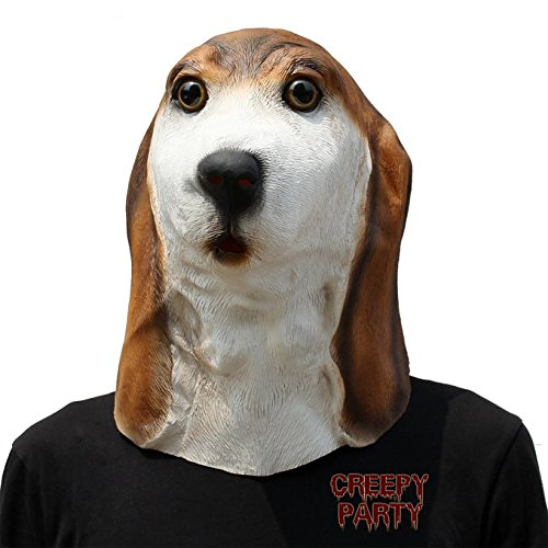 CreepyParty Deluxe Novelty Halloween Latex Animal Dog Head Mask Basset (Cute Basset Hound Costumes)