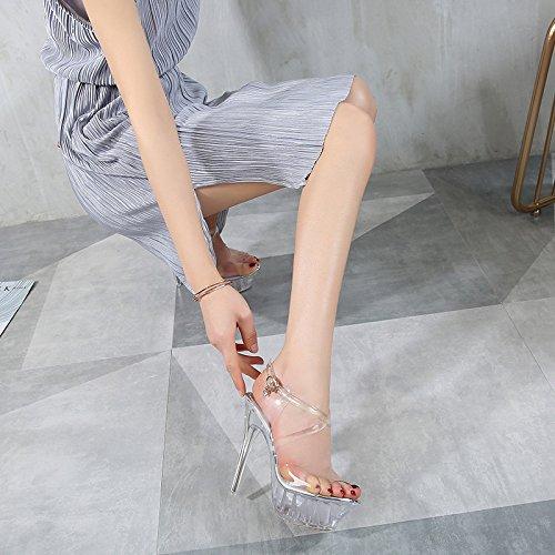 Piattaforma Scarpe Trasparente Tacchi Tacco Impermeabile Bianchi Da Nightclub A Alto Sandali Super Con Spillo Donna pqrtq