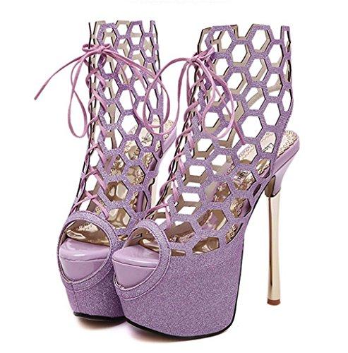 HETAO Persönlichkeit Damen-Frauen Hochzeitsschuhe High Heels Mode Fisch Mund Spitze Braut Peep Toe Sandale Größe Geschenk Des Mädchens Purple Red