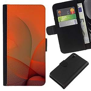 A-type (Naranja Remolinos) Colorida Impresión Funda Cuero Monedero Caja Bolsa Cubierta Caja Piel Card Slots Para Sony Xperia Z3 D6603