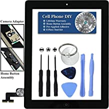 Black iPad 2 Digitizer Replacement Screen Front Touch Glass Assembly Replacement - Includes Home Button + Camera Holder + Pre-Installed Adhesive with Tools – Repair Kit by Cell Phone DIY&reg