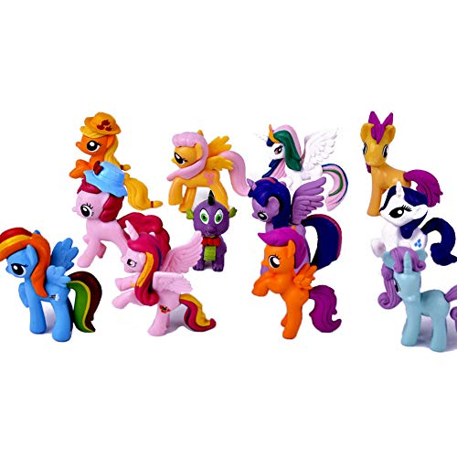 DeQian 12pcs Little Pony Toys, 7cm Tall Pony Figures Collection Playset, Cake Toppers for Party Favors, Kids Gift