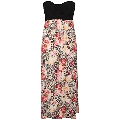 Maxi Plus Size Womens Summer Dress 22 New Leopard 4 Tube Printedm Sheering Floral CHOCOLATE PICKLE Boob wqvHtt