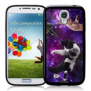 Hipster Flying Cats Space - Protective Designer BLACK Case - Fits Samsung Galaxy S4 i9500