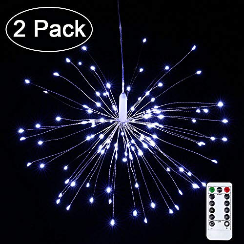 2 Pack LED Decorative Lights, 120 LED Dimmable Fairy Lights, Twinkle Starburst Lights, Waterproof Battery Operated with Remote Control for Home, Patio, Parties, Wedding, Christmas (White)