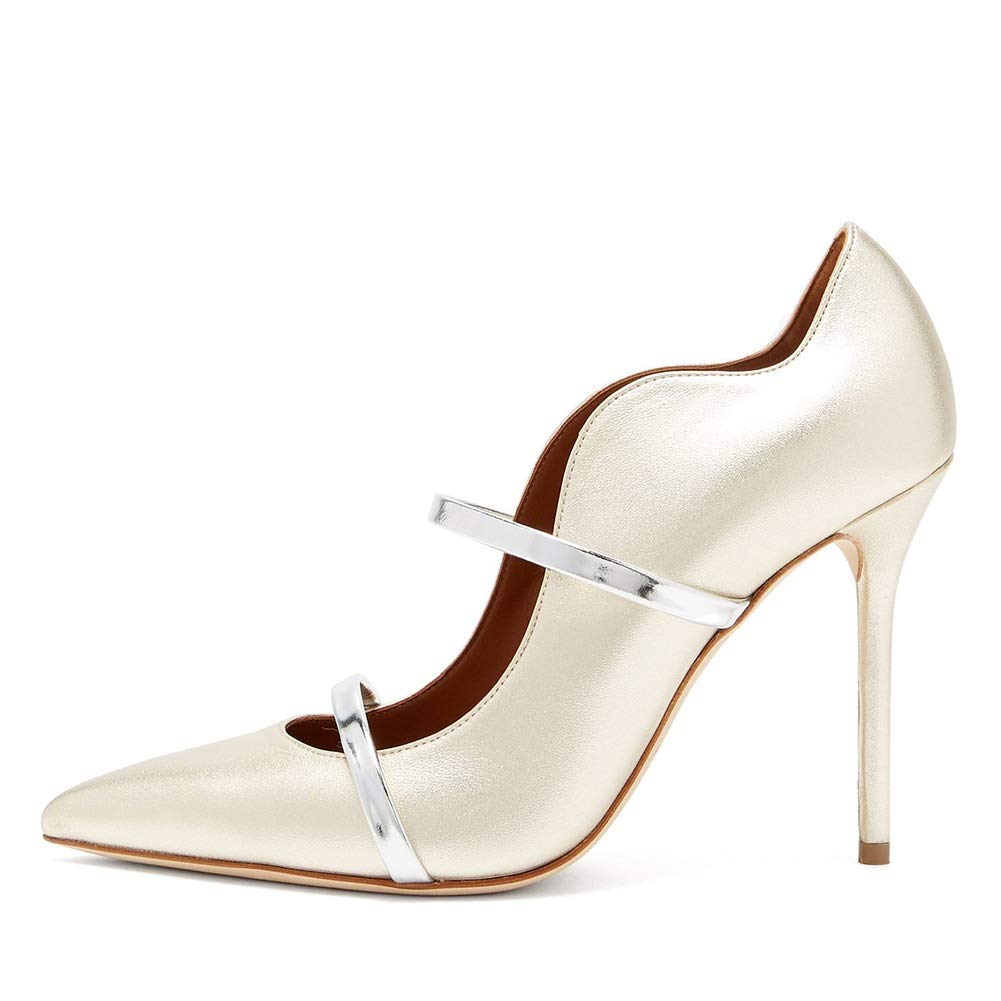 Pointed Heels Stilettos White Wedding Shoes Banquet Shoes Size : 46