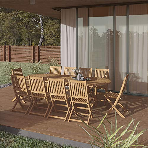 Amazonia Bergen 11-Piece Teak Extendable Oval Dining Set, Light Brown