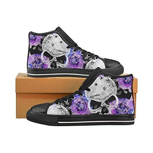 D-Story Custom Cool Skull and Purple Flower Mens Classic High Top Canvas Shoes Fashion Sneaker