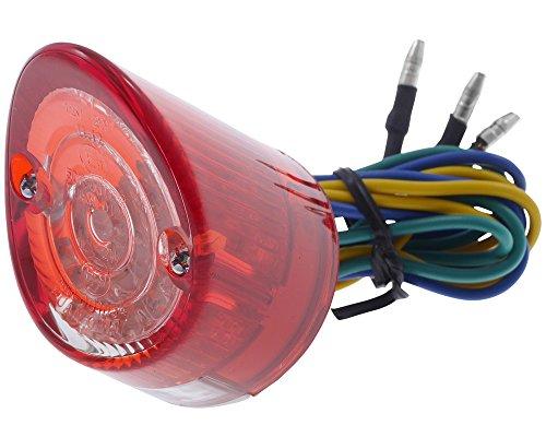 Rücklicht Mini LED Motorrad NOSE, rund, Glas rot/transparent, 44x44x56mm