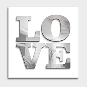 "4ArtWorks - Love 3D Wall Art - Red or Mirror Gloss Silver Acrylic Letters Effect - Classic Love Mural Design - Hand Assembled & Made in The USA - Modern Home Decor (16"" W x 16"" T, Silver)"