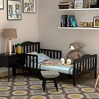 HONEY JOY Toddler Bed, Solid Rubber Wood Frame w/Safety Guardrail, Fits Crib Full Size Mattress (Not Included), Children Classic Sleeping Bedroom Furniture for Kids Boys Girls (Black)