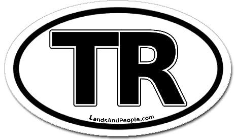 Turkey tr black and white car bumper sticker decal oval