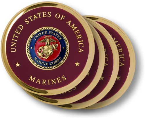 Marine Corps Seal Brass 4 Coaster Set by Northwest Territorial Mint