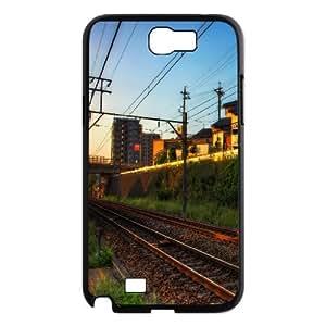 Train Tracks and Light Samsung Galaxy Note 2 Case, Samsung Galaxy Note 2 Cases for Girls Unique Dustin - Black