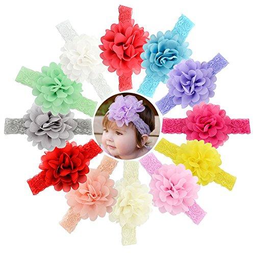 Baby Girls Big Headbands Chiffon Hair Bows Lace Band for Newborns infants 16 or 12 PCS (578-12PCS)