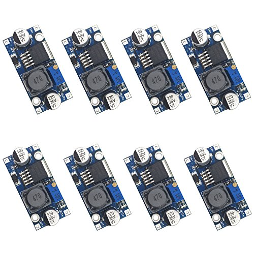 Valefod 8 Pack LM2596 DC to DC High Efficiency Voltage Regulator 3.0-40V to 1.5-35V Buck Converter DIY Power Supply Step Down Module ()