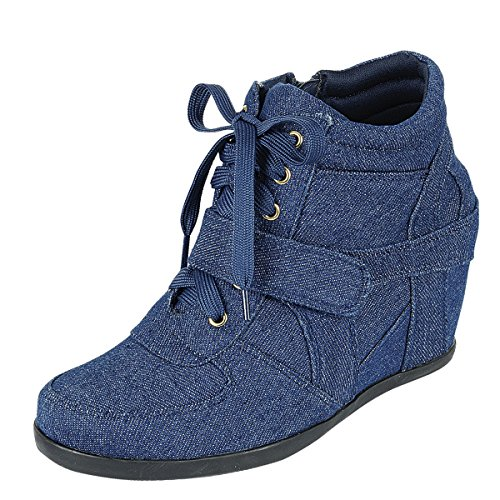 Forever Link Womens Hook Loop Lace Up Ankle Booties Hidden Wedge Fashion Sneakers Denim jkpLenymg