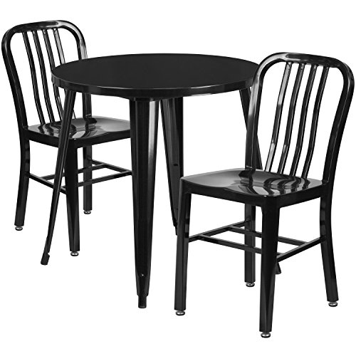Vertical Metal (Flash Furniture 30'' Round Black Metal Indoor-Outdoor Table Set with 2 Vertical Slat Back Chairs)