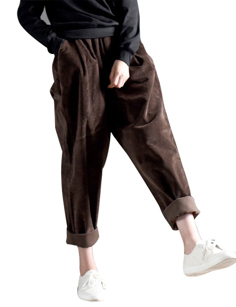 IDEALSANXUN Women's Retro Thick Corduroy Elastic Waist Loose Fit Casual Harem Pants Trousers (Medium, Coffee)