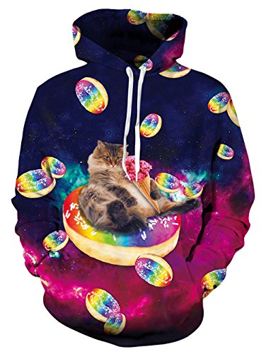 Pullover Cappuccio 3d Divertente Tasche xxl Felpa Unisex Cat Coulisse Hoodie Con S B Goodstoworld donut Stampato qgtvFUwx
