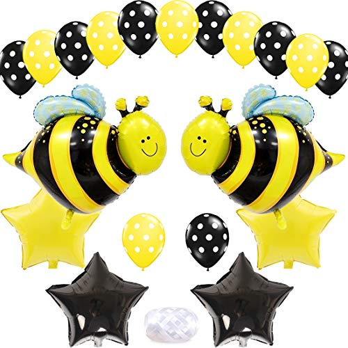KREATWOW Bumblebee Party Decoration Bumble Bee Balloons for Honey Bee Themed Birthday Party Baby Shower Supplies