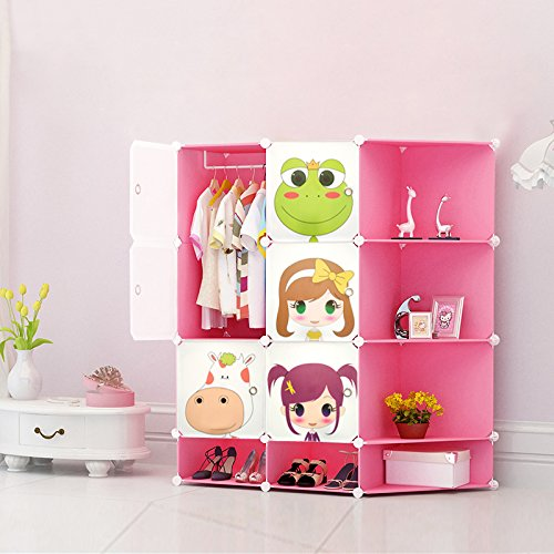 NEW Kids Wardrobe Childrens Storage Cabinet Boxes Character Design Shoes Storage Corner Storage Cubes Pink Green Blue (Blue) toyzz