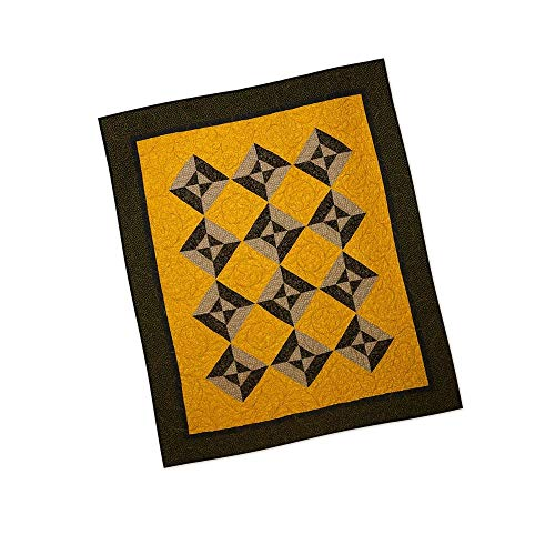 Quilt Modern Patchwork Civil War Hour Glass Block Gold Brown Black Green ()