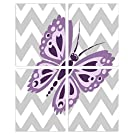 The Kids Room by Stupell Purple Butterfly on Grey and White Chevron 4-pc. Rectangle Wall Plaque Set