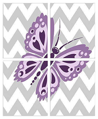 The Kids Room By Stupell Purple Butterfly On Grey And White Chevron 4-Pc. Rectangle Wall Plaque Set, Proudly Made in ()