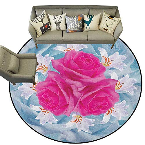 Rose,Overstock Rugs Graphic of Roses and Lilies with Soft Pastel Colors Nature Blooms Springtime Theme D48 Floor Area Mat for Children Playroom (Graphic Rose Rug)