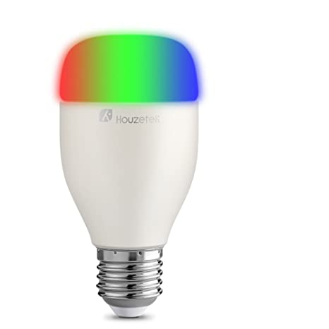 Smart LED bombilla, houzetek Wi-Fi luz bombillas LED multicolor, trabajo con Alexa