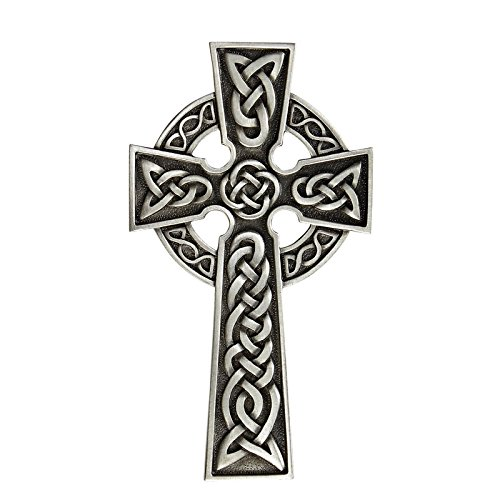 James Brennan Knotted Irish Silver Toned Celtic Knot Wall Cross in Antique Pewter Finish (8 Inch)