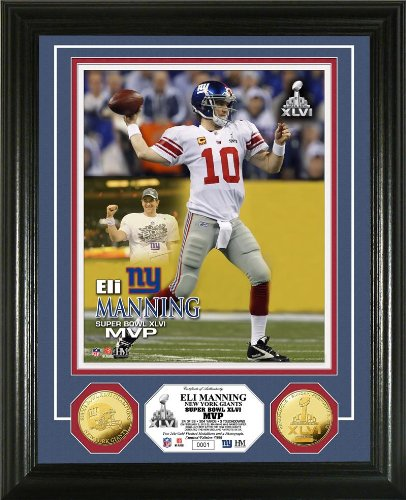 NFL New York Giants Super Bowl XLVI MVP Gold Coin Photo Mint by The Highland Mint