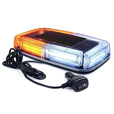 Xprite COB LED White Amber/Yellow Roof Top Warning Strobe Light 19 Flash Modes w/Magnetic Base Mini Beacon Lights Bar for 12V Hazard Emergency Construction Vehicles Snow Plow Trucks Bus: Automotive