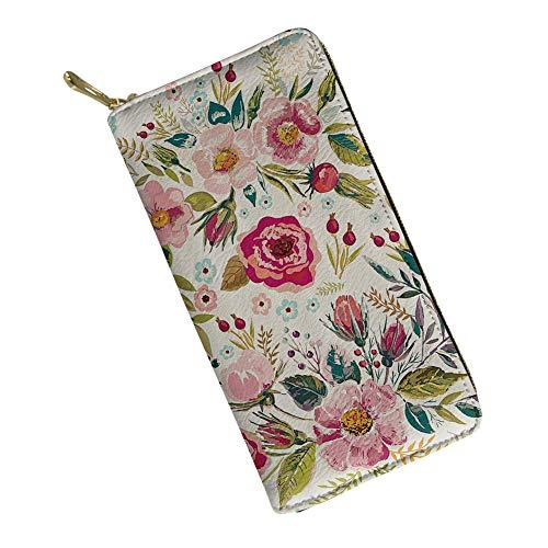 Ladies Clutch Purse Fashion Flower Printing Womens PU Leather Zip Long Wallet Clutch