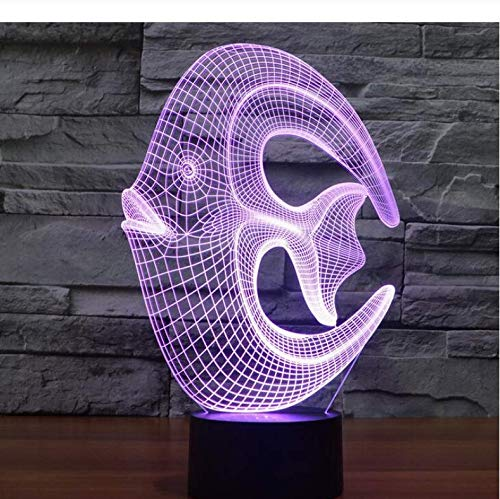 Buntes 3D Nachtlicht Reef Fish Light Creativesmall Illusion Lamp Seven Color Change Weihnachten Ation Kids Toys 7 Colors…