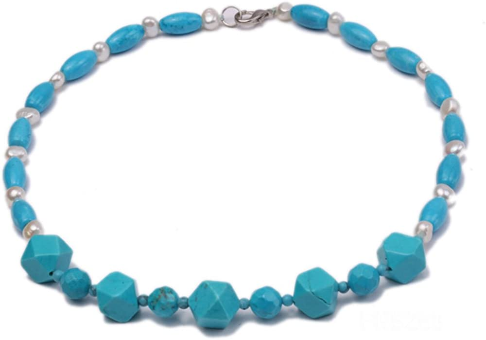 jyx Oval Azul Turquesa con Natural Blanco Perla Agua Dulce Collar 19