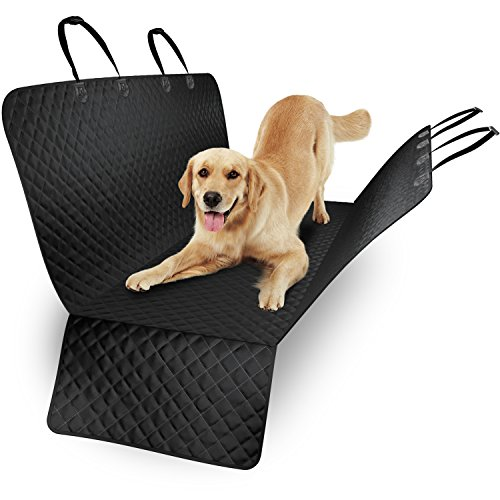 Waterproof Dog Back Seat Cover- for Cars, SUVs and Trucks - Durable, Quilted, Non-Slip Material - Bench Cover and Cargo Liner Convertible with Extra Side Protection