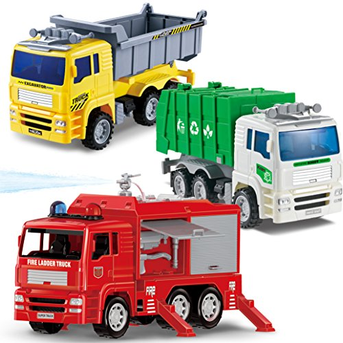 Joyin Toy 3 Pack Friction Powered City Vehicles Including Garbage Truck, Fire Engine Truck and Construction Dump Truck - Friction Fire Engine