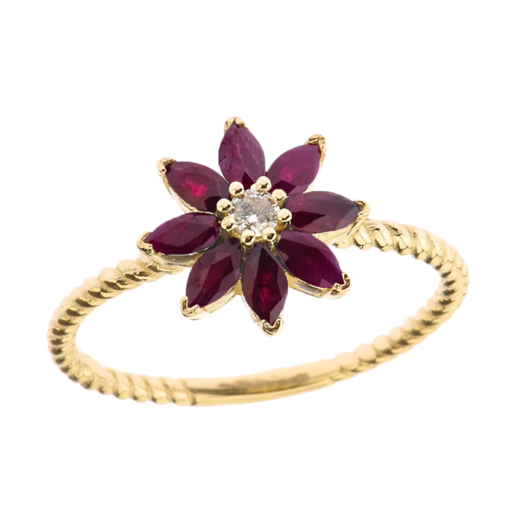 Elegant 14k Yellow Gold Diamond Daisy Rope Promise Ring with Ruby Petals (Size 9) by Flower Collection