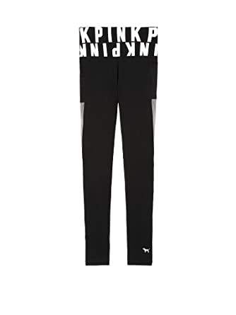 Victorias Secret PINK Cotton Legging (Medium/ Pure Black Logo Waistband/ Mesh Pocket)