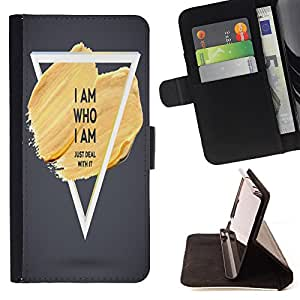 Dragon Case - FOR LG OPTIMUS L90 - i am who i am - Caja de la carpeta del caso en folio de cuero del tir¨®n de la cubierta protectora Shell