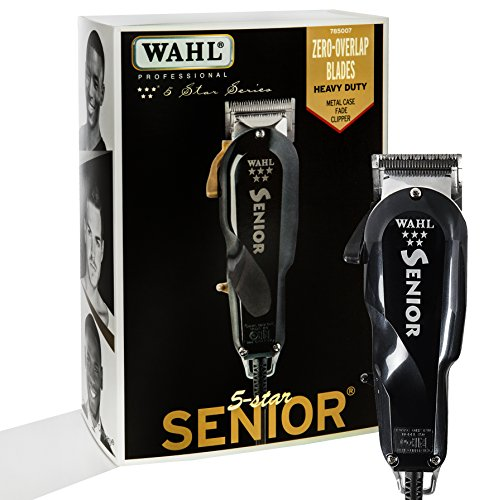 (Wahl Professional 5-Star Series Senior Clipper #8545 - Great for Professional Stylists and Barbers - V9000 Electromagnetic Motor - Black --Aluminum metal bottom housing)