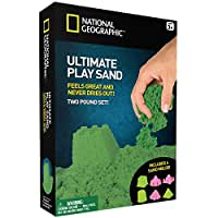 National Geographic Play Sand - 2 LBS of Sand with Castle Molds and Tray (Green)