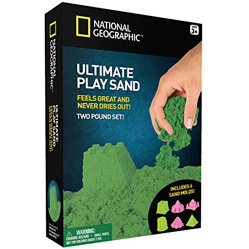 Price comparison product image National Geographic Play Sand - 2 LBS of Sand with Castle Molds and Tray (Green)